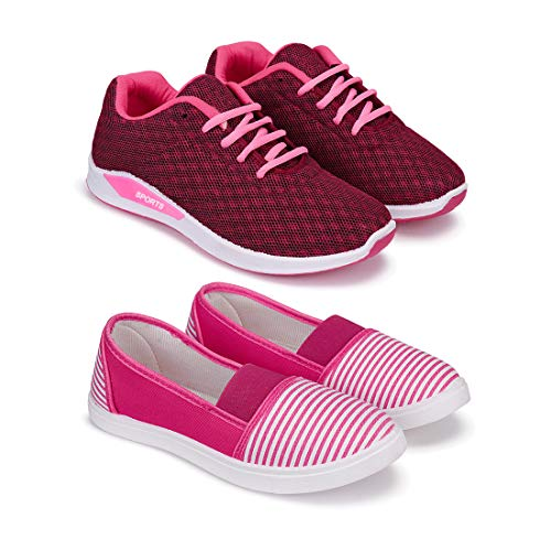 Bersache Combo Pack of 2 Sports and Running Shoes for Women