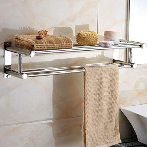 タオル掛けタオルスタンド 浴室の二重層のタオル掛けのステンレス鋼の壁に取り付けられたタオル棒60cm