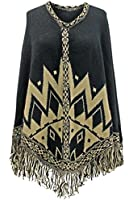 Luxury Divas Chevron Aztec Poncho With Fringe