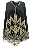 Best Luxury Divas Travel Ponchos - Luxury Divas Black Chevron Aztec Poncho With Fringe Review