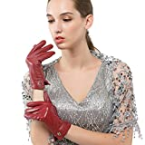 Nappaglo Women's Italian Lambskin Leather Gloves Winter Warm Simple Long Fleece Lining Gloves (Touchscreen or Non-Touchscreen) (L (Palm Girth:7.5''-8''), Wine Red (Non-Touchscreen))