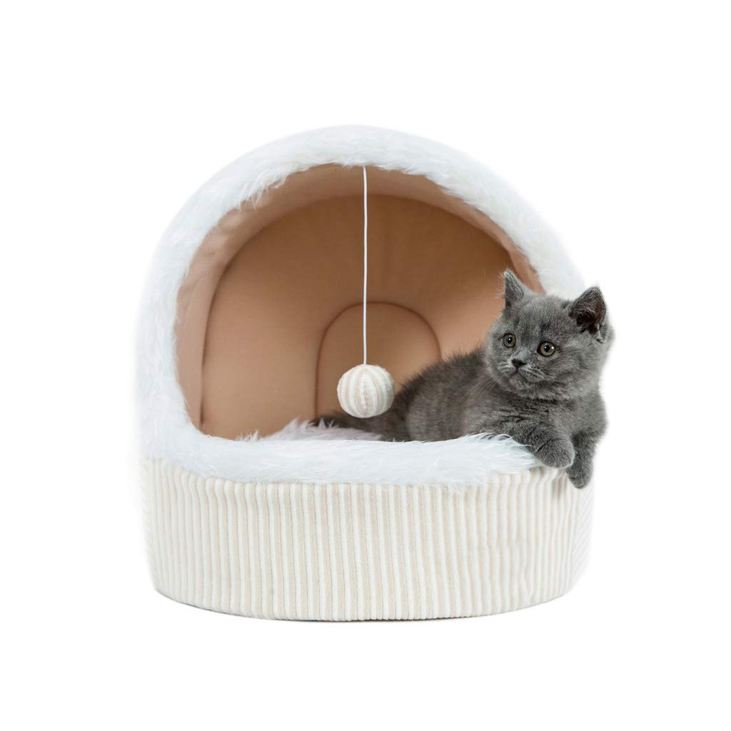 S WANGXIAOLIN Cat Nest, Closed Cat Sleeping Bag, Cat Tent, Can Be Opened and Cleaned, Universal for Four Seasons, Warm in Winter (Beige) (Size   S)