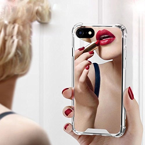 (iPhone 7 Plus/iPhone 8 Plus Case for Women Girls, Opretty Luxury Glitter Ultra-Thin Mirror TPU PC Back Protect Case for iPhone7 Plus/iPhone 8 Plus Cover Reflect Girly Cute Case-Silver)