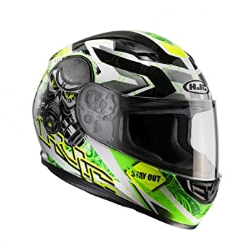 HJC 101504l Casco Moto, Negro/Verde Neón, L