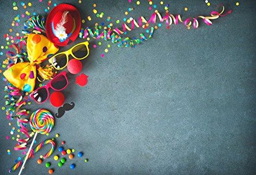 マスク 仮面舞踏会 パーティー 写真撮影 背景 - Yeele 5x4フィート ビニール カーニバル サングラス 紙吹雪 リボン 背景 赤ちゃん 女の子 男の子 ポートレート 撮影 写真ブース スタジオ小道具   B07FL7GJ1C