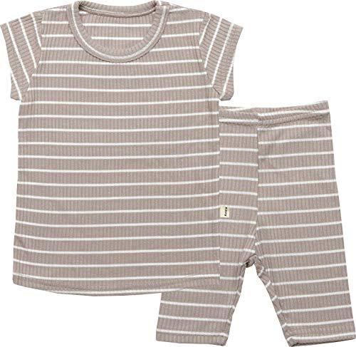 Boy Stripe Pjs - AVAUMA Baby Boys Girls Solid Melon Stripe Pj Set Kids Pajamas Short Sleeve Cotton 100%(E-Beige XXL/4T)