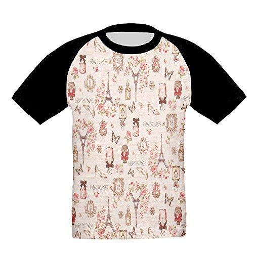 Quzim Paris Eiffel Tower High Heels Butterfly Honey Jar Jersey Baseball Tee T Shirts For Kids Toddler Baby Boys Girls
