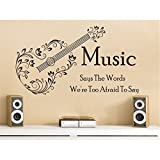 ymot101 Music Says The Words We'Re Too Afraid Quotes Wall Stickers Wall Decor Decals for Kids Rooms Bedrooms Nursry Living Room for Girls for Boys