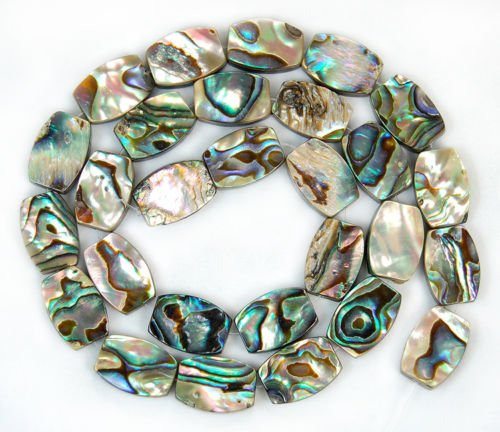 "AD Beads Natural Abalone Shell Gemstone Beads 15.5"" Oval Square Coin Oblong Teardrop Diamond (Pillow 10x14mm)"