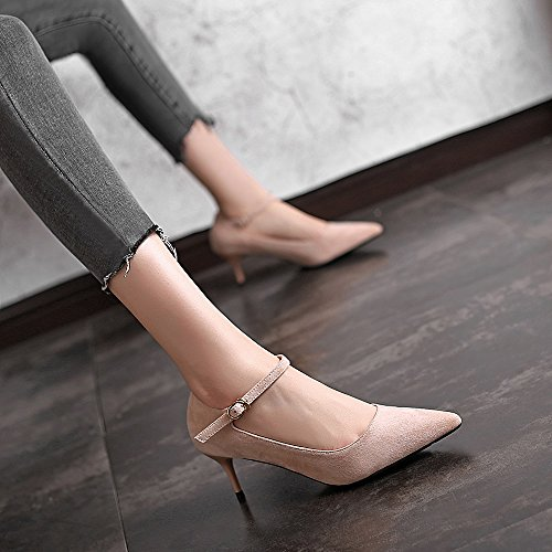 And Spring Word New Shoes Jqdyl Buckle Pointed Pointed Apricot Female Autumn 6cm Wild With Heels A High High Black Fine Winter heels EwZZxCvq8F