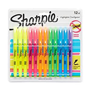Sharpie Pocket Style Highlighters, Chisel Tip, Assorted, 12 Pack