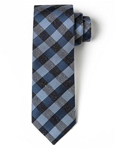 Origin Ties 100% Silk 2.5 Skinny Tie Handmade Men's Splattered Gingham Necktie Blue