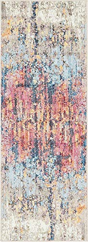 Unique Loom Downtown Collection by Jill Zarin Collection Abstract Modern Vintage Rustic Watercolor Pastel Tones Multi Runner Rug (2' 2 x 6' 0)