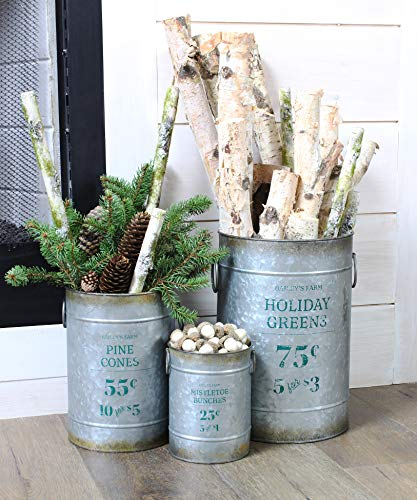 AuldHome Christmas Galvanized Greenery Buckets (Set of 3), Large, Medium, Small Metal Farmhouse Decor Galvanized Cans with Holiday Pine - Up Stand Tree Skirt