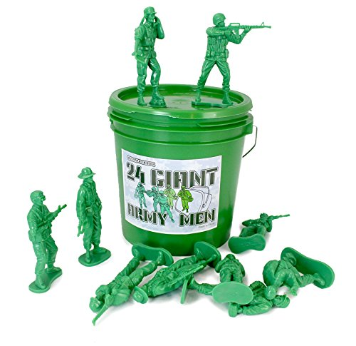 Well Pack Box 24 Giant Green Plastic Army Men Toy Soldiers Large 4.5 Tall Action Figures in Play Bucket Perfect for Boys Sandbox Bathtub Party Pretend Action and Adventure On The Beach from