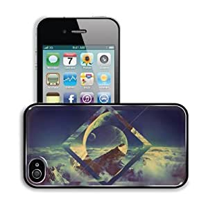 Abstract Mountain Moon Imagination Artwork Apple iPhone 4 / 4S Snap Cover Premium Aluminium Design Back Plate Case Customized Made to Order Support Ready 4 7/16 inch (112mm) x 2 3/8 inch (60mm) x 7/16 inch (11mm) MSD iPhone_4 4S Professional Metal Cases T