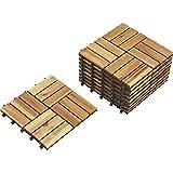 Acacia Wood Deck Tiles — Set of 20, Natural