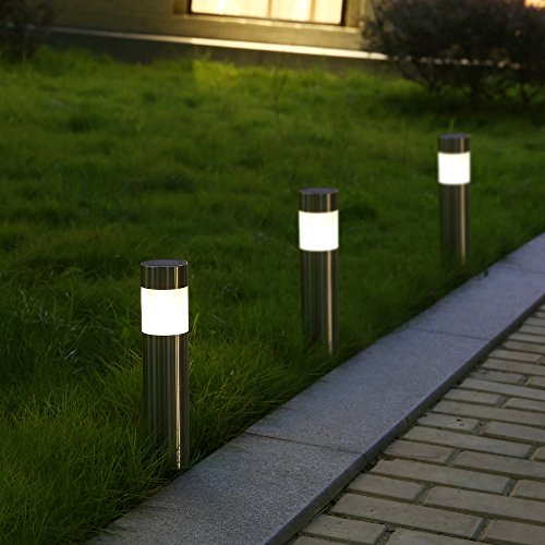 Voona Solar Bollard Lights Outdoor 6 Pack Stainless Steel Warm White Led Lights For Garden