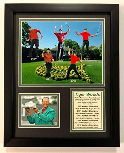(Legends Never Die Tiger Woods - 5 Time Masters Champion Collage - Framed 12