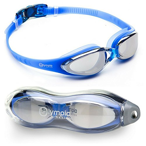 (Olympia Nation Pro Swim Goggles - Blue with Mirrored Lenses)