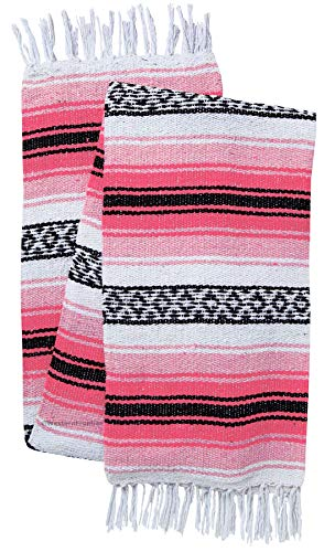 El Paso Designs Mexican Yoga Blanket Colorful 51in x 74in Studio Mexican Falsa Blanket Ideal for Yoga, Camping, Picnic, Beach Blanket, Bedding, Home Decor Soft Woven (Neon Pink and Light Pink)