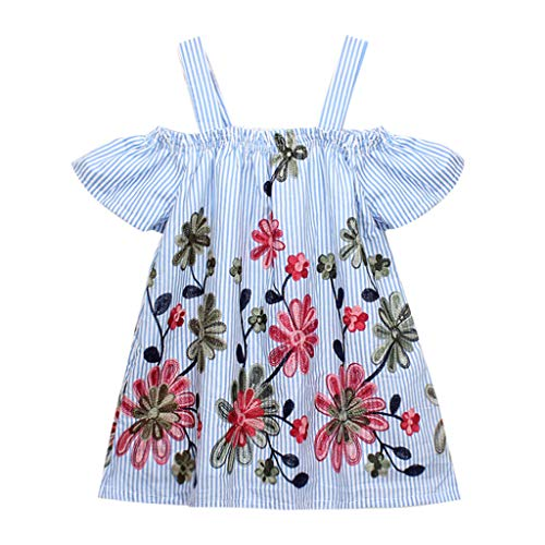 Floral Pig (Toddler Baby Girls Floral Embroidery Stripe Party Princess Dresses 2-7T Blue)