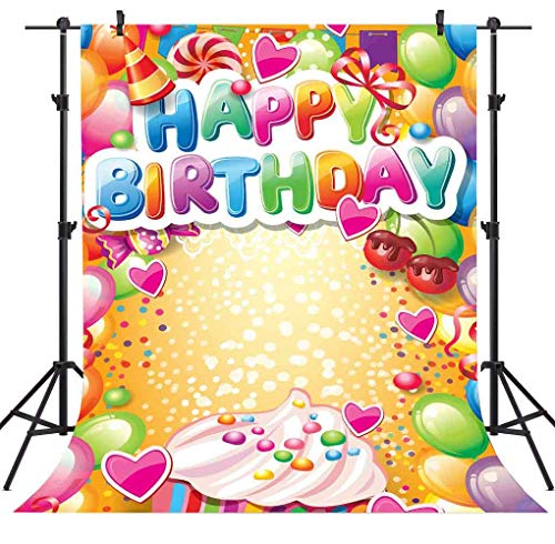 FLASIY Happy Birthday Photography Backdrops 5x7FT Colorful Balloons Sweet Candy Photo Background for Children Baby Themed Party Photo Studio Backdrop Props AYY020 ()