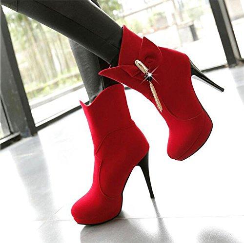 Chfso Mujeres Elegant Stiletto Sólido Redondo Punta Colgante Bow High Chunky Plataforma Del Talón Botas Botas Rojo