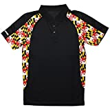 Route One Apparel Maryland Flag Side Pattern Men's Polo in Black