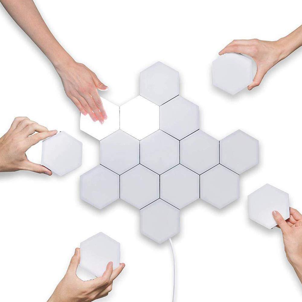 Wan/&ya L/ámpara de Pared Hexagonal DIY Luz cu/ántica Conjunto de geometr/ía Creativa LED Luz de Noche Iluminaci/ón de inducci/ón t/áctil Modular L/ámpara de muralla,10pieces