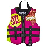 Ronix 2017 August Girl's Front Zip CGA Vest Child (Pink/Highlighter) KId's Life Jacket