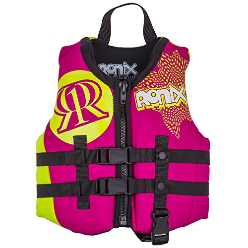 Ronix 2017 August Girl's Front Zip CGA Vest Child (Pink/Highlighter) KId's Life Jacket by Marine Product