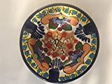 Talavera Ceramic Ashtray 4 1/2'' Modern Art Design Authentic Puebla Mexico Pottery Hand Painted Design Vivid Colorful Art Decor Signed [Yellow Rim]