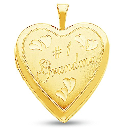 14K Yellow Gold Satin Open Heart Locket #1 Grandma Charm Pendant with Double Sided Picture Insert (20x20 mm)