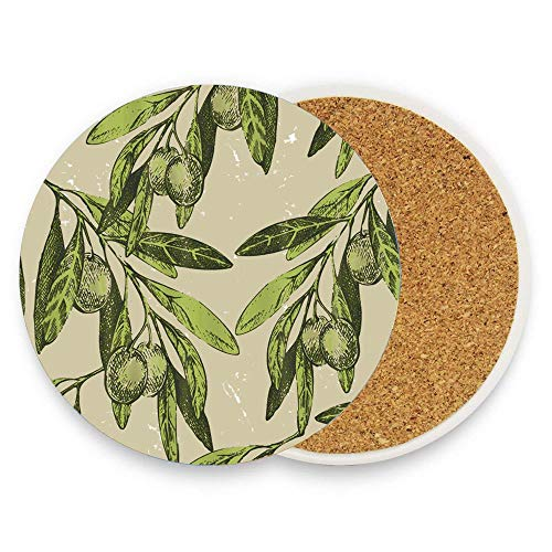 Jugbasee Almond with Leaves in Vintage Coaster for Drinks Absorbent Stone for Drink with Cork Backing,Pack Of 1