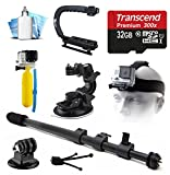 32GB MicroSD Card - Selfie Stick - Car Mount - Head Strap - Floating Float Handle - Tripod Adapter - Opteka xGrip Action Handle Stabilizer - Dust Removal Cleaning Kit for GoPro Hero4 Hero3+ Hero3 Camera