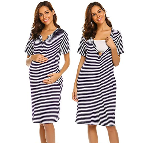 Ekouaer Women Short Long Sleeve Nightgown Striped Nursing Nightgown  Breastfeeding Sleep Dress 6f522ce30