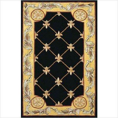 Kas Rugs 0307 Jewel Fleur-De-Lis Round Area Rug, 7-Feet 9-Inch, Black