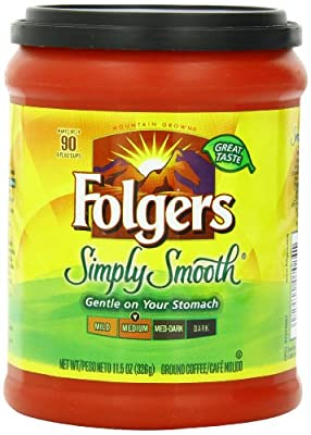 Folgers Simply Smooth Ground Coffee, Medium Roast, 11.5 Ounce