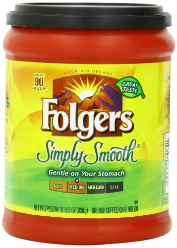 Folgers Simply Smooth Ground Coffee, Medium Roast, 11.5 Ounce (Pack of 6)
