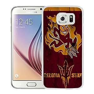 Arizona State Sun Devils White Samsung Galaxy S6 Screen Cover Case Genuine Design High Quality