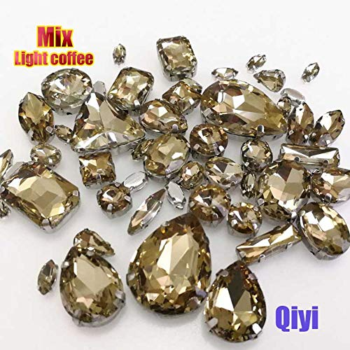 Best Quality - Mixed Shape - Sell at a Loss! 50pcs/Bag Mixed Shape Light Coffee Glass sew on Claw Rhinestones,DIY Clothing Accessories SWM013 - by Olwen Shop