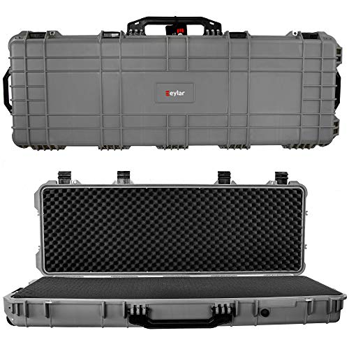 Eylar 44 Inch Protective Roller Tactical Rifle Hard Case with Foam, Mil-Spec Waterproof & Crushproof, Two Rifles Or Multiple Guns, Pressure Valve with Lockable Fittings Gray
