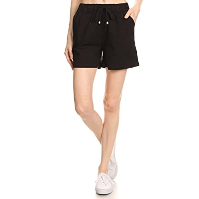 2ND DATE Women's Drawstring Waist Mid-Thigh Length Linen Style Shorts