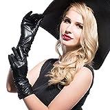 MATSU Classic Women Winter Warm Lambskin Leather Ruched Gloves M9021 (M, Black-Long Fleece)