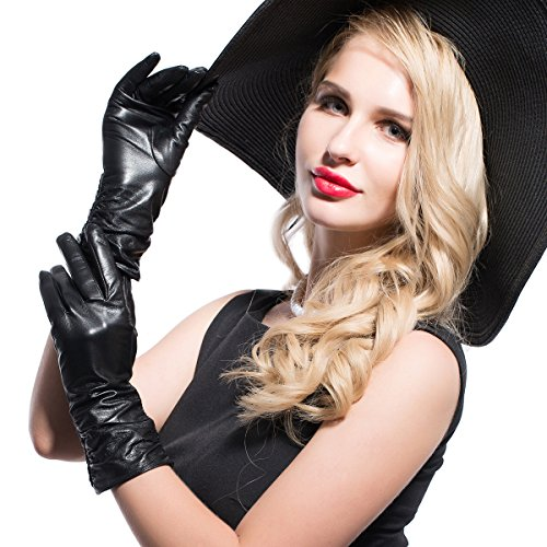 Black Italian Leather Long Gloves (MATSU Classic Women Winter Warm Lambskin Leather Ruched Gloves M9021 (M, Black-Long Fleece))