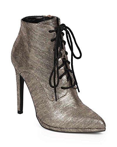 Qupid DK36 Women Metallic Snakeskin Pointy Toe Lace - Sz 7 Snake Boot