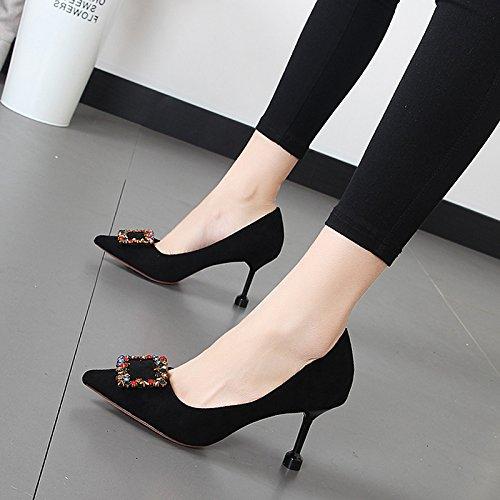 Xue Qiqi Luz de punta de los singles femeninos zapatos de moda de cercanías parte el alto talón zapatos y versátil con fino Negro