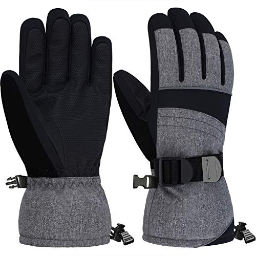 Andake Mens Ski Gloves 3M Thinsulate Insulated Thermal Warm Snow Gloves Waterproof Windproof Non-Slip PU Palms Men