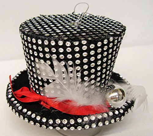 Christmas Bedazzled Small Stovepipe Hat - Feather Christmas Top Hat